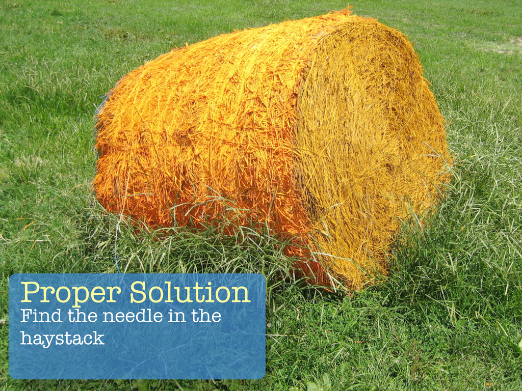 Proper Solution Find the needle in the haystack