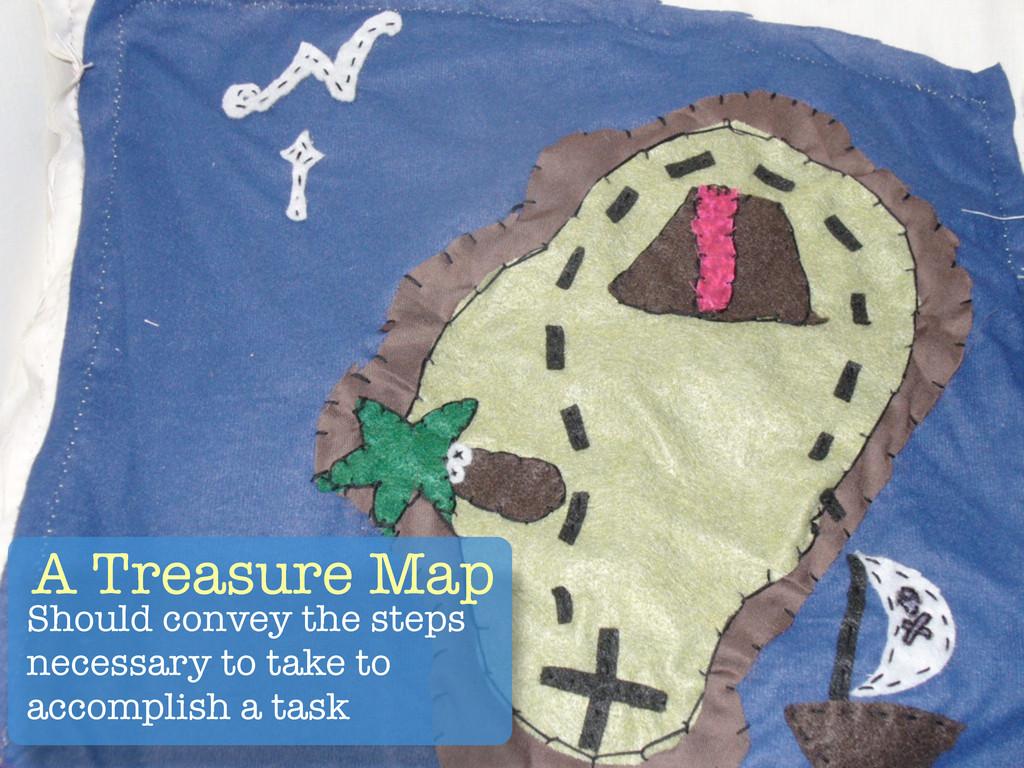 A Treasure Map Should convey the steps necessar...
