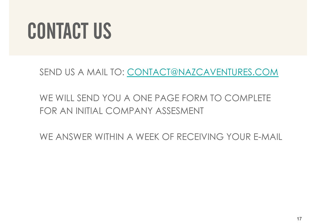 SEND US A MAIL TO: CONTACT@NAZCAVENTURES.COM WE...
