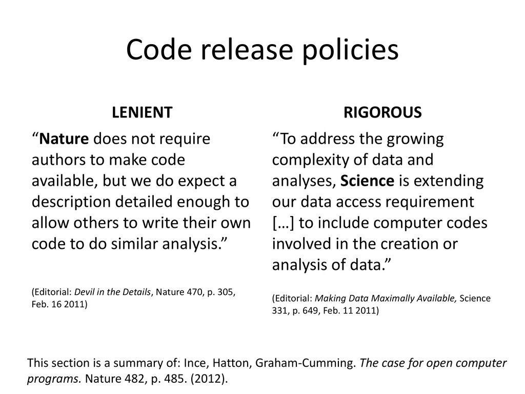"Code release policies LENIENT ""Nature does not ..."