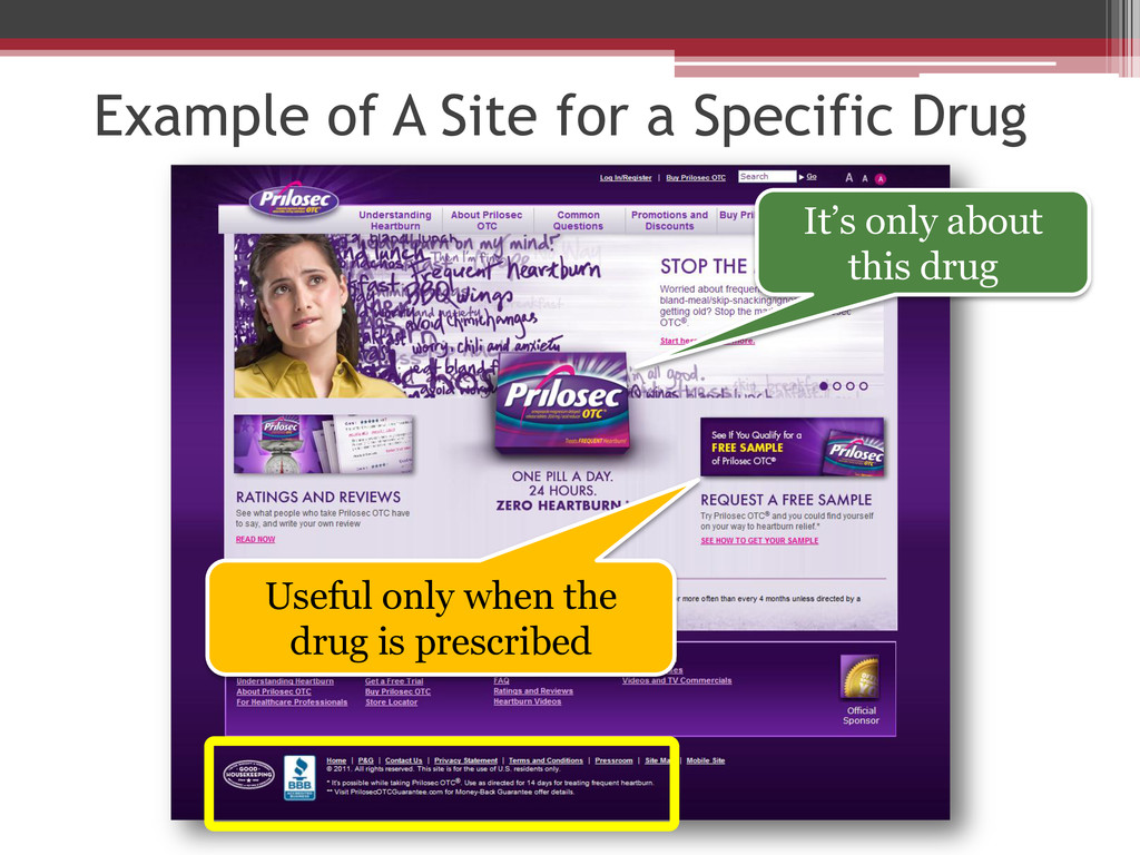 Example of A Site for a Specific Drug It's only...