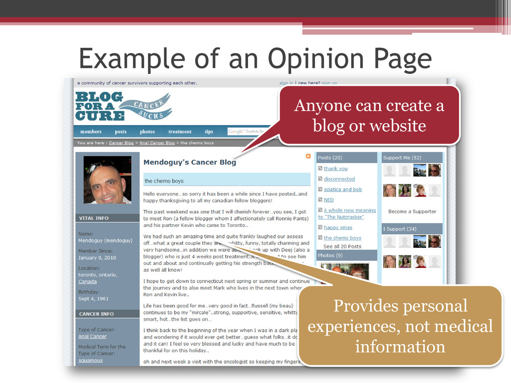 Example of an Opinion Page Anyone can create a ...