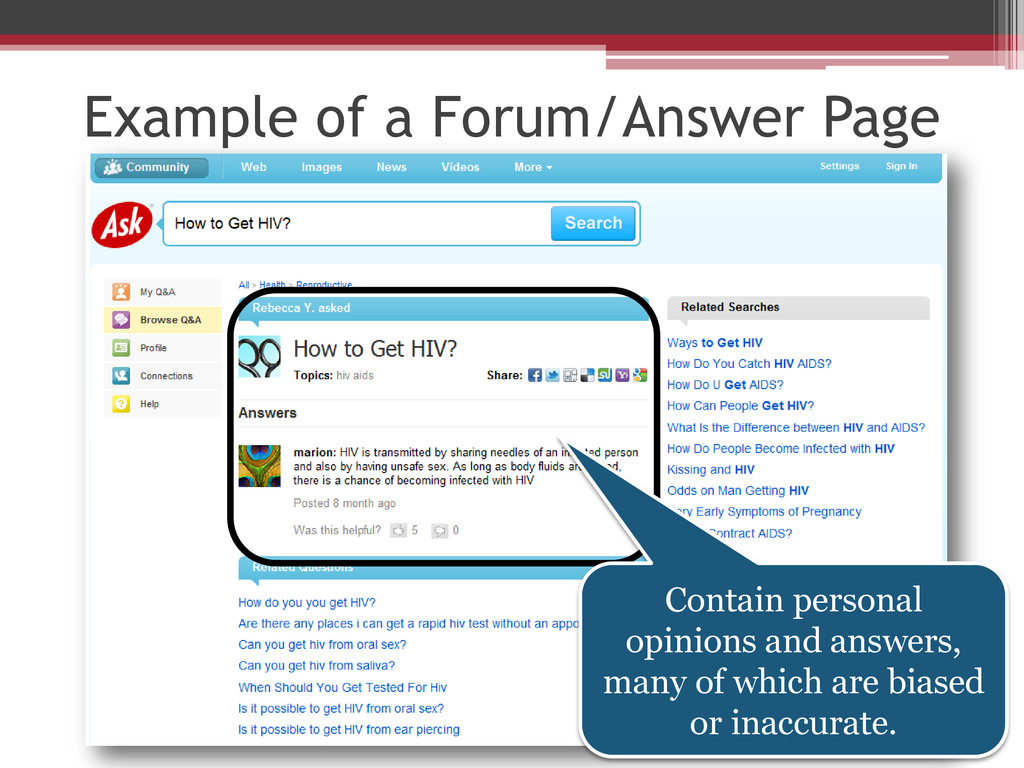 Example of a Forum/Answer Page Contain personal...