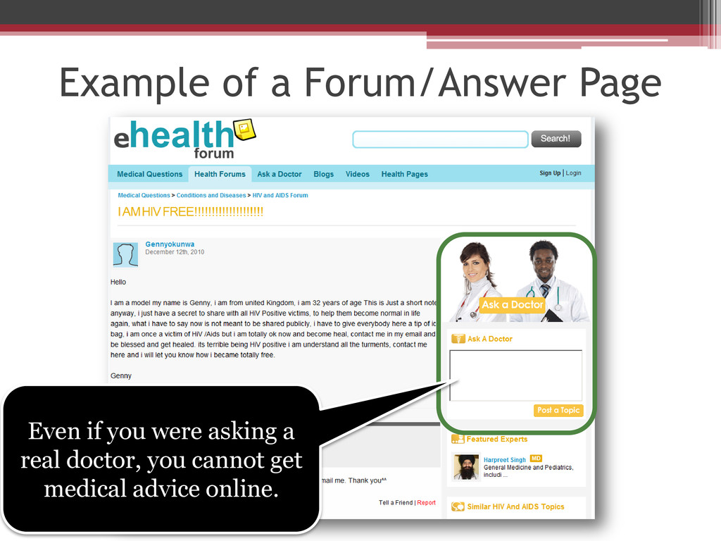Example of a Forum/Answer Page Even if you were...