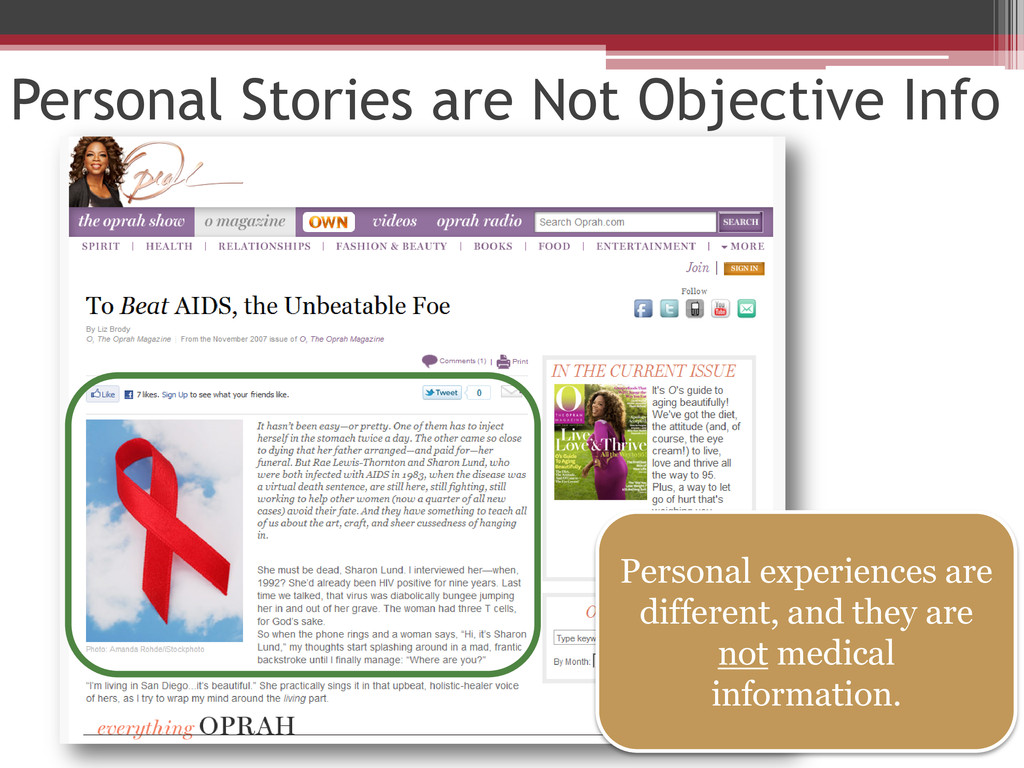 Personal Stories are Not Objective Info Persona...