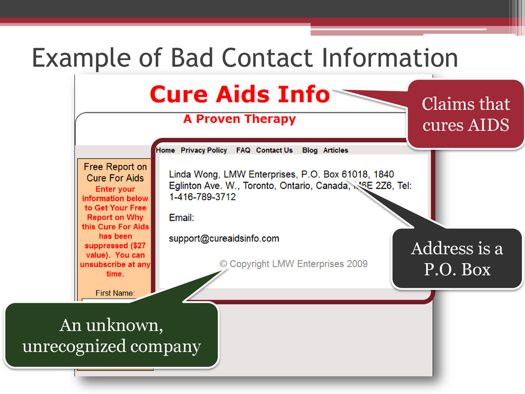 Example of Bad Contact Information Claims that ...