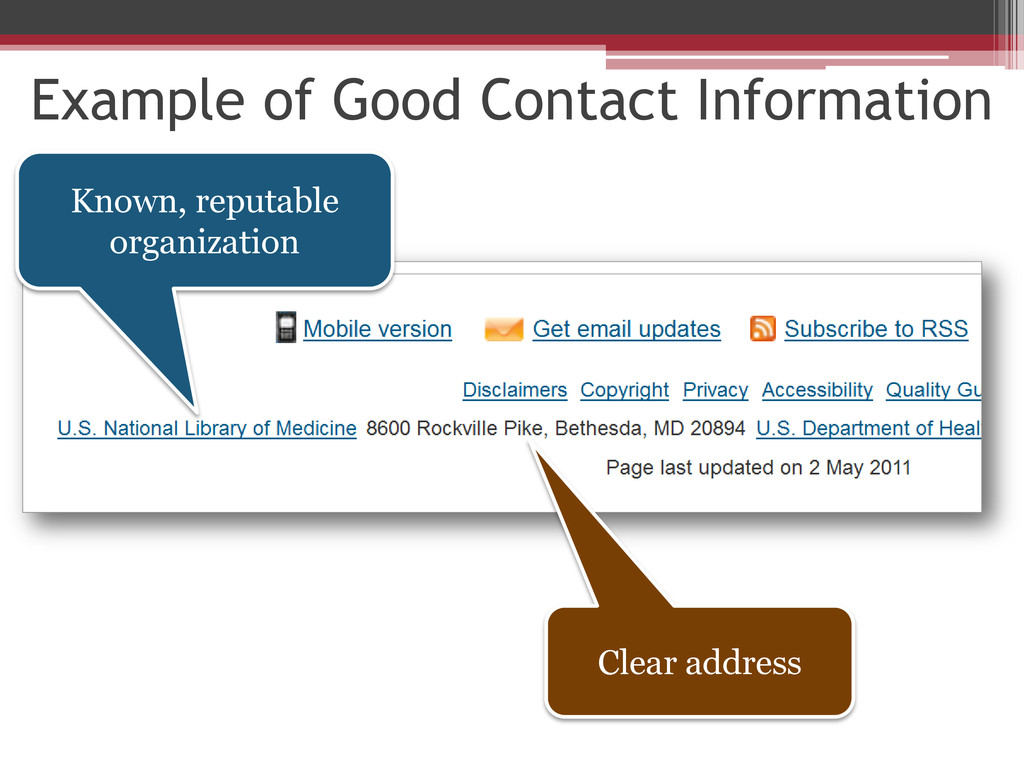 Example of Good Contact Information Known, repu...