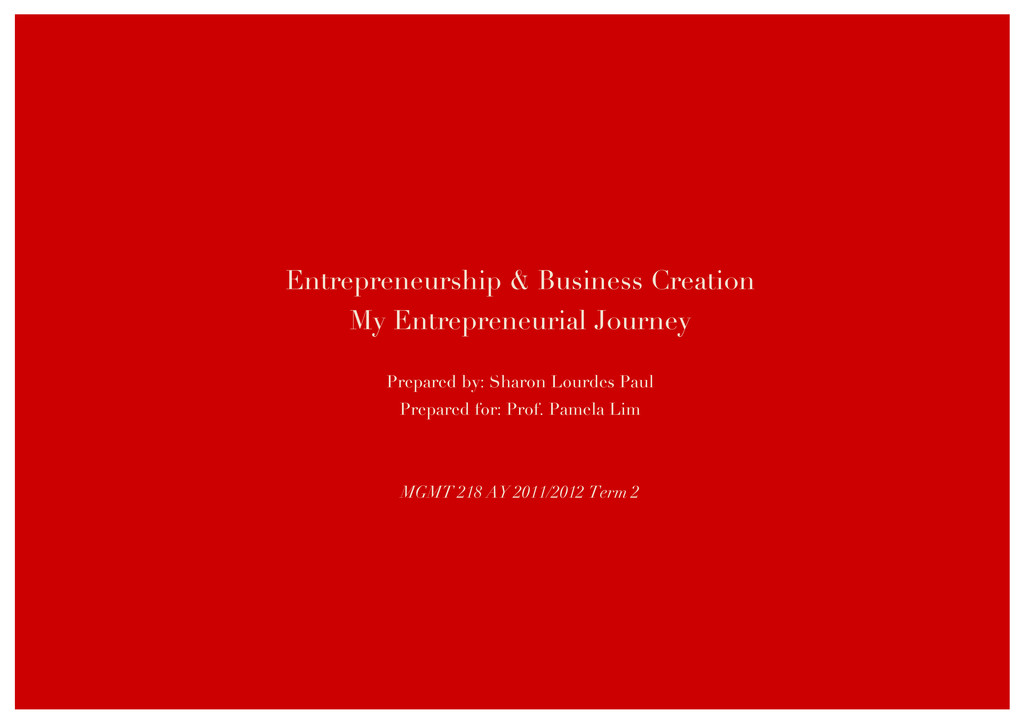 Entrepreneurship & Business Creation My Entrepr...