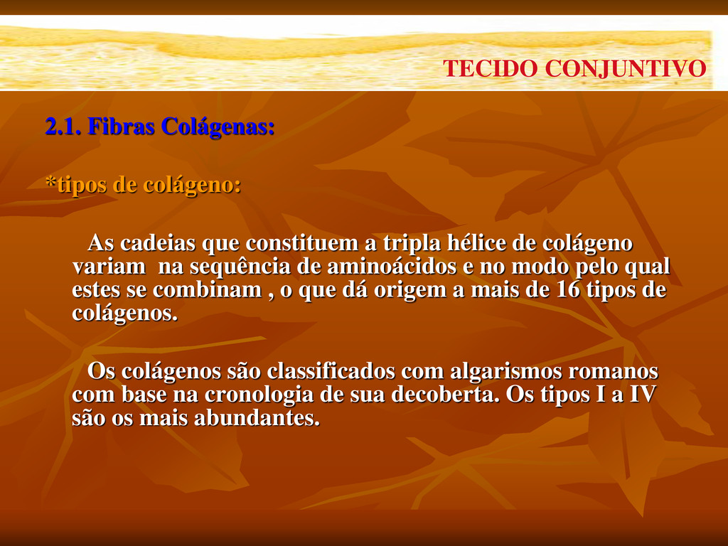2.1. Fibras Colágenas: *tipos de colágeno: As c...