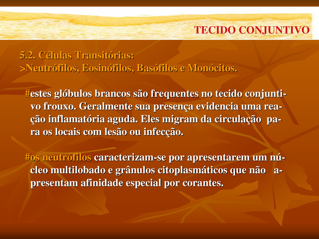 5.2. Células Transitórias: >Neutrófilos, Eosinó...