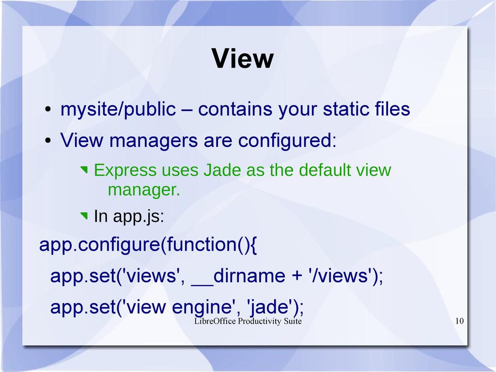 LibreOffice Productivity Suite 10 View ● mysite...