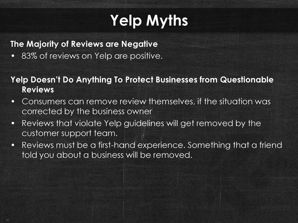 Yelp Myths The Majority of Reviews are Negative...