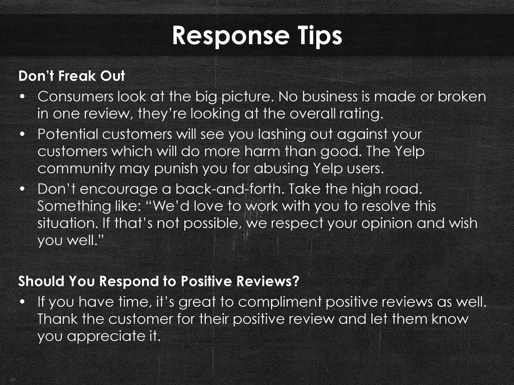Response Tips Don't Freak Out • Consumers look ...
