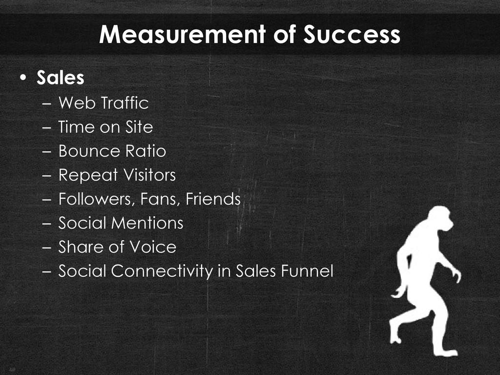 Measurement of Success • Sales – Web Traffic – ...