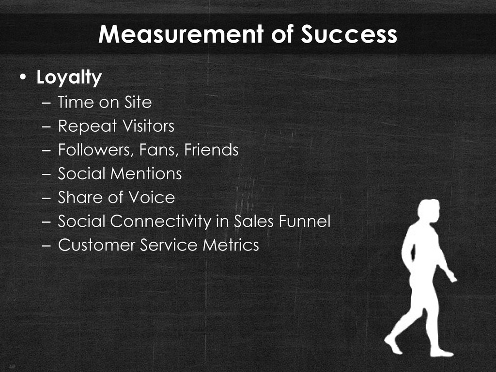 Measurement of Success • Loyalty – Time on Site...