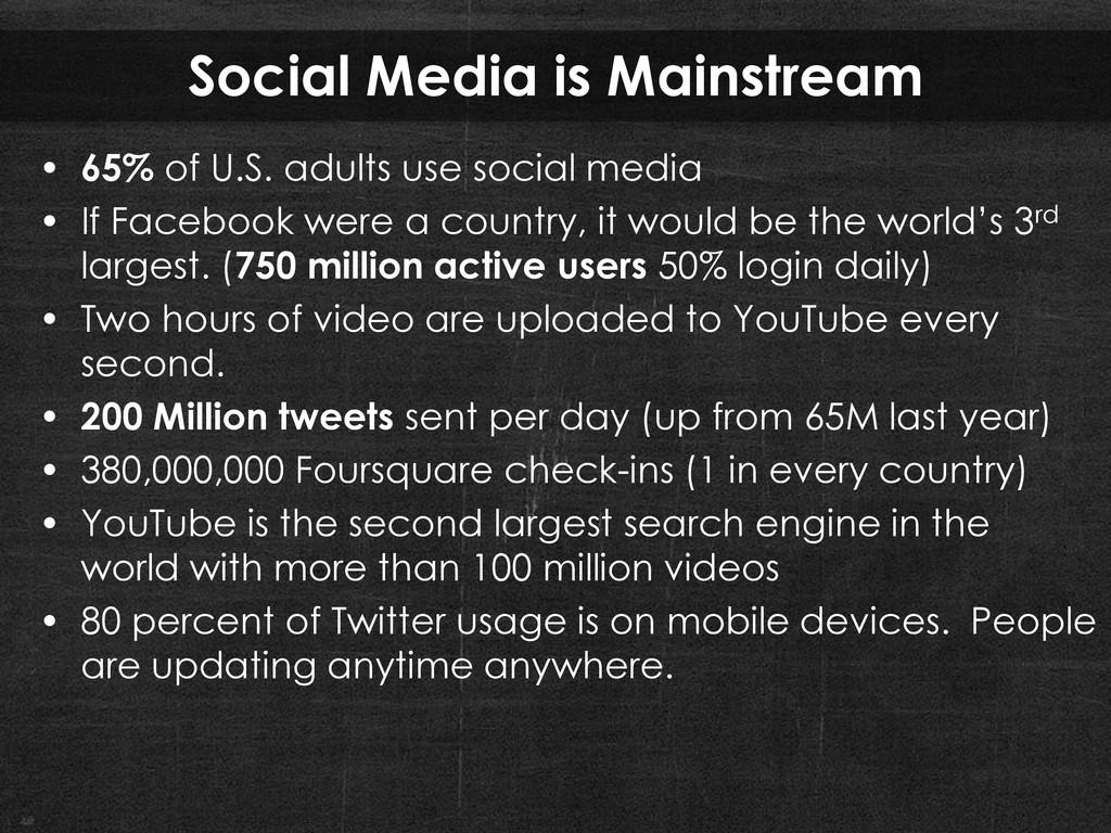 Social Media is Mainstream • 65% of U.S. adults...