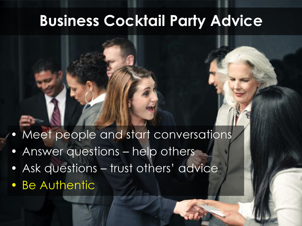 Business Cocktail Party Advice • Meet people an...