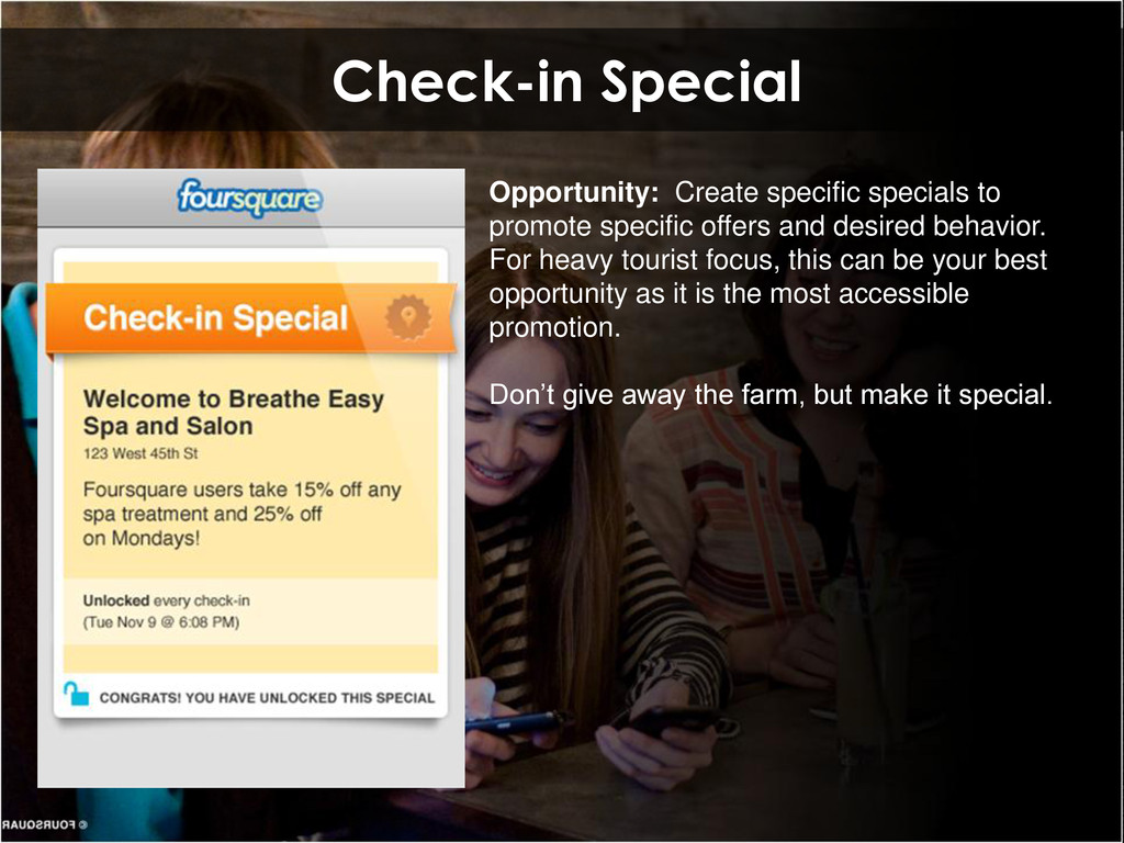 Check-in Special Opportunity: Create specific s...