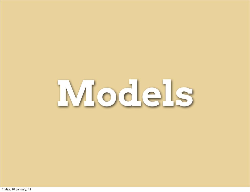 Models Friday, 20 January, 12