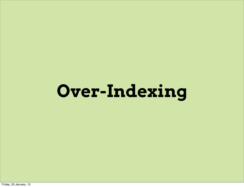 Over-Indexing Friday, 20 January, 12