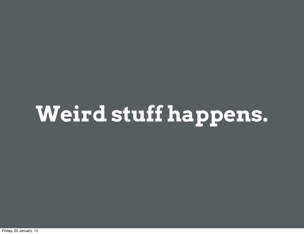 Weird stuff happens. Friday, 20 January, 12