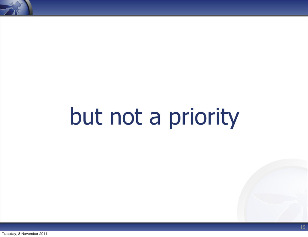 but not a priority 15 Tuesday, 8 November 2011