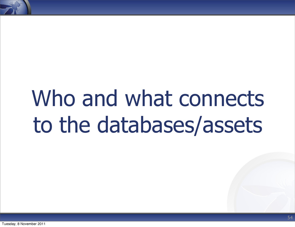 Who and what connects to the databases/assets 5...