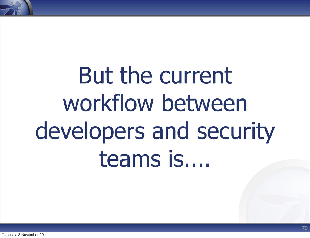 But the current workflow between developers and...