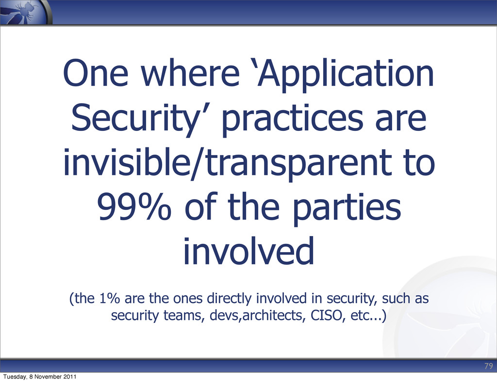One where 'Application Security' practices are ...