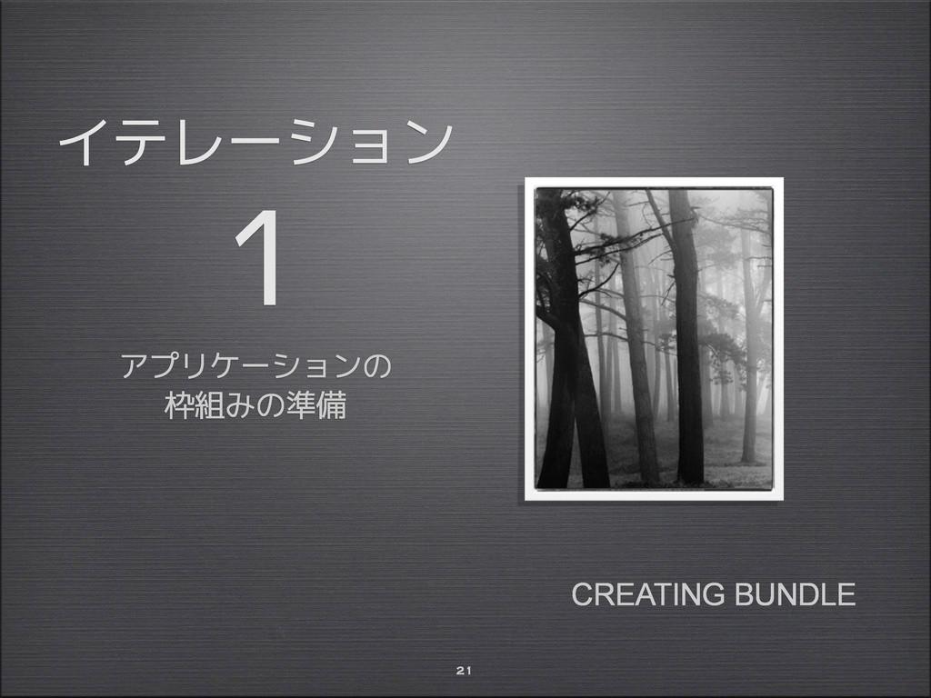 イテレーション 1 アプリケーションの 枠組みの準備 21 CREATING BUNDLE