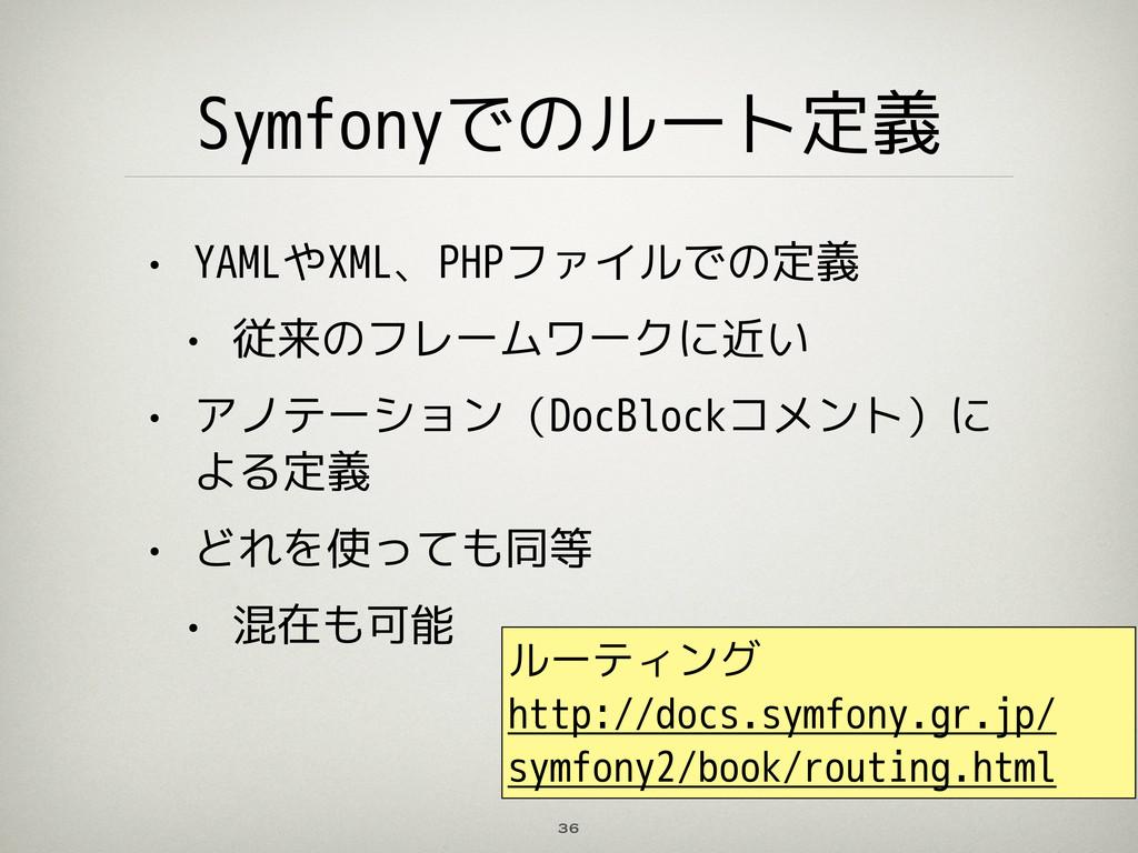 Symfonyでのルート定義 • YAMLやXML、PHPファイルでの定義 • 従来のフレーム...