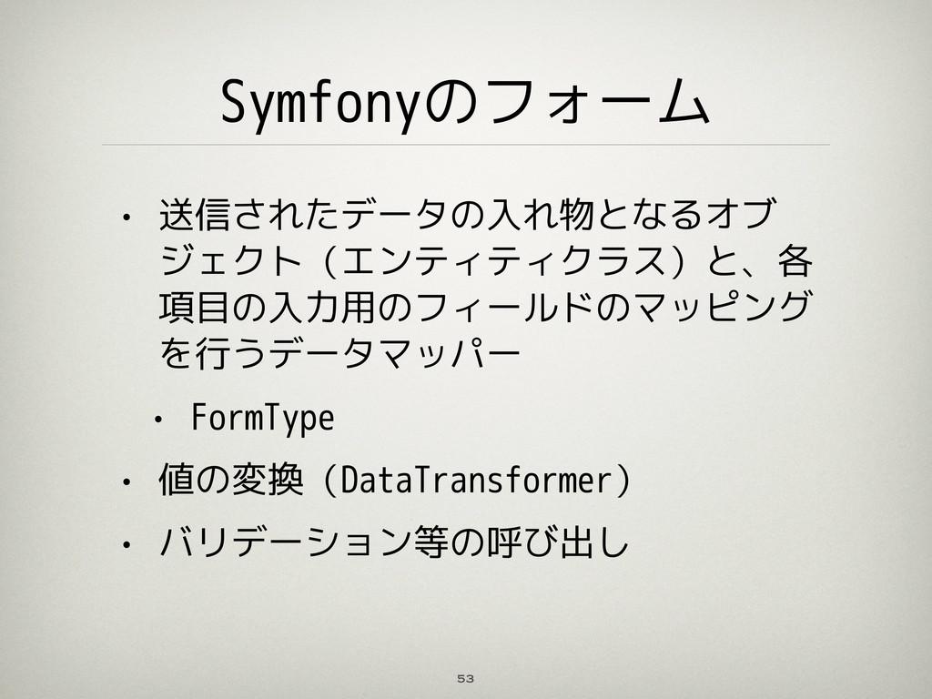 Symfonyのフォーム • 送信されたデータの入れ物となるオブ ジェクト(エンティティクラス...