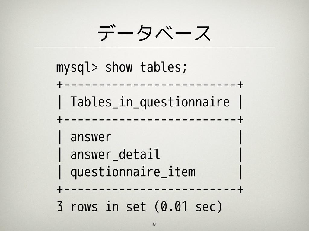 データベース 8 mysql> show tables; +-----------------...