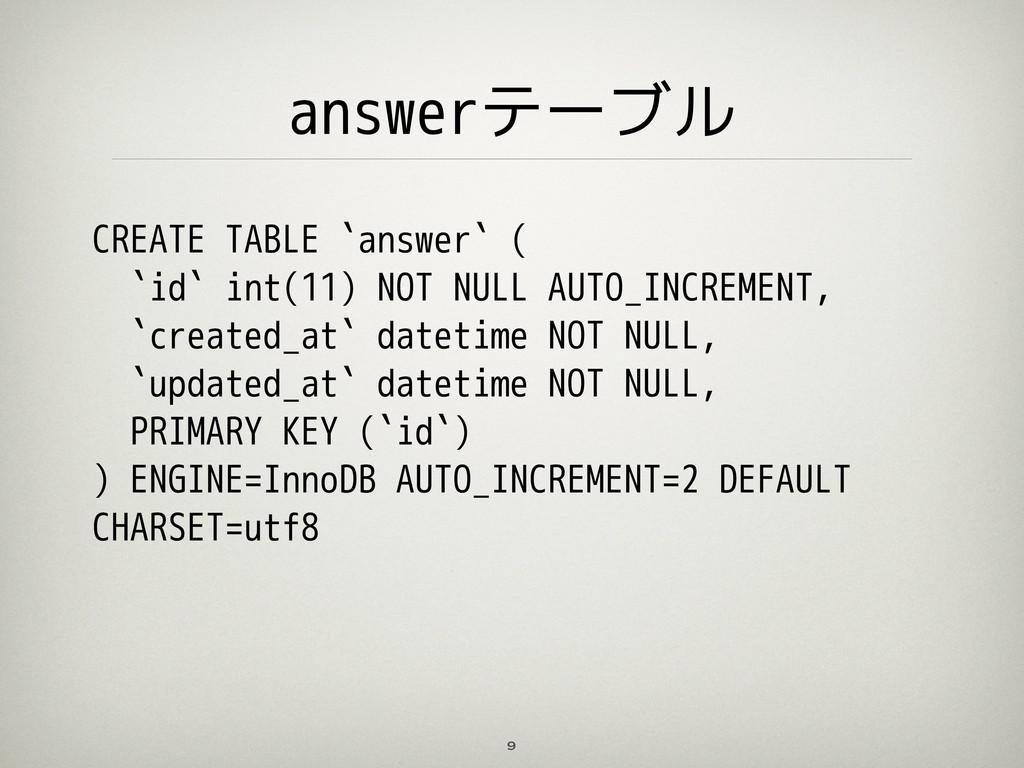 answerテーブル 9 CREATE TABLE `answer` ( `id` int(1...