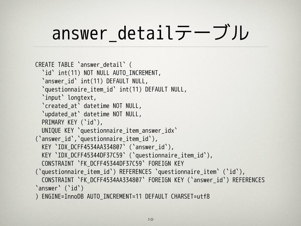answer_detailテーブル 10 CREATE TABLE `answer_detai...