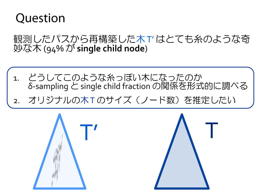 観測したパスから再構築した木 T' はとても糸のような奇 妙な木 (94% が single ...