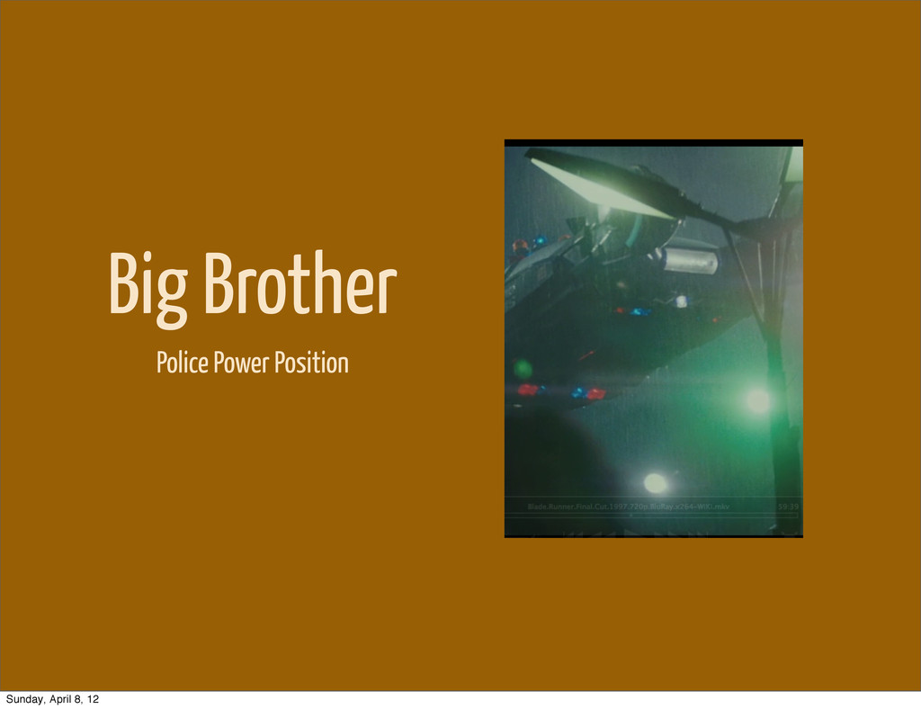 Big Brother Police Power Position Sunday, April...