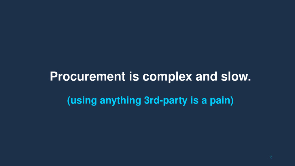 10 Procurement is complex and slow. (using anyt...