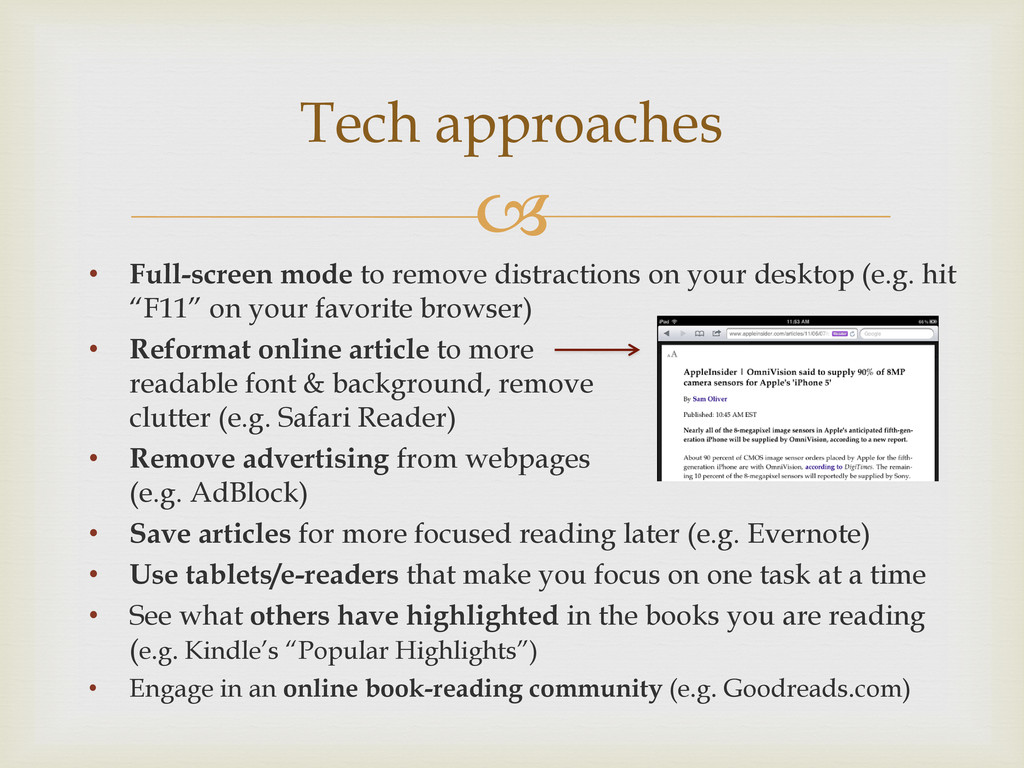  • Full-screen mode to remove distractions on ...
