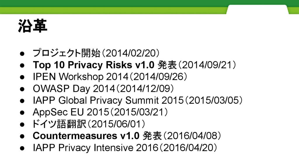 沿革 ● プロジェクト開始(2014/02/20) ● Top 10 Privacy Risk...