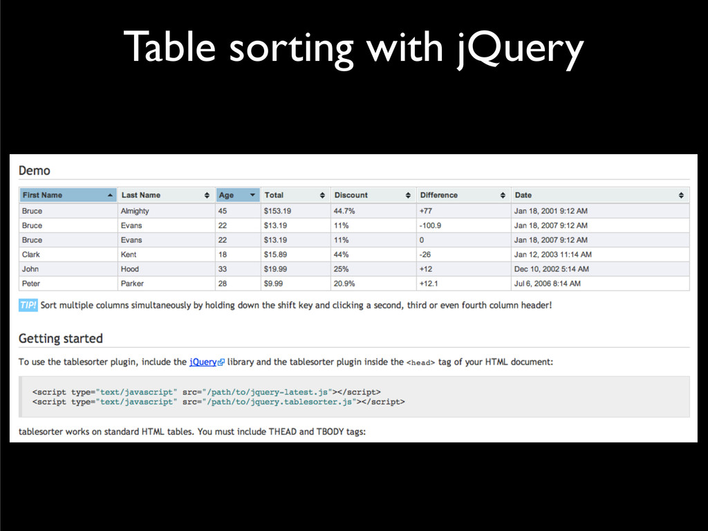 Table sorting with jQuery