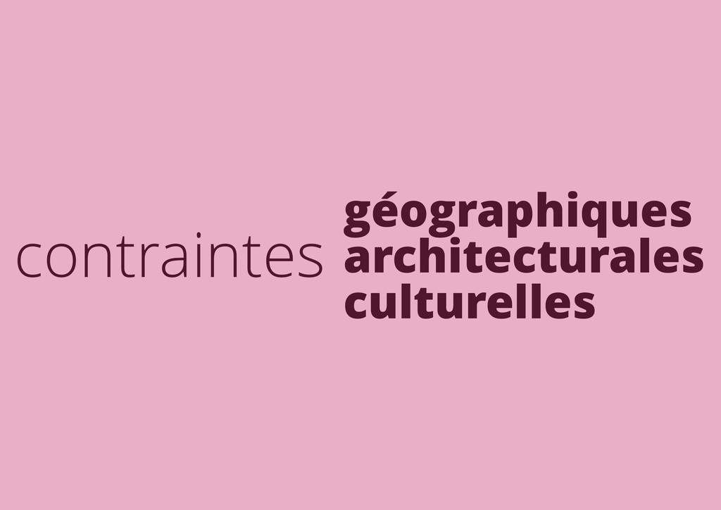 contraintes géographiques architecturales cultu...