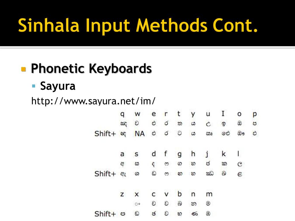  Phonetic Keyboards  Sayura http://www.sayura...