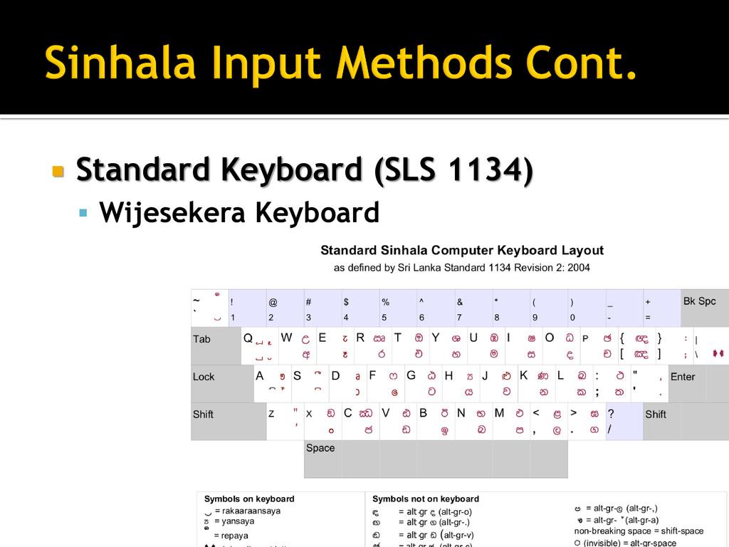 Standard Keyboard (SLS 1134)  Wijesekera Key...