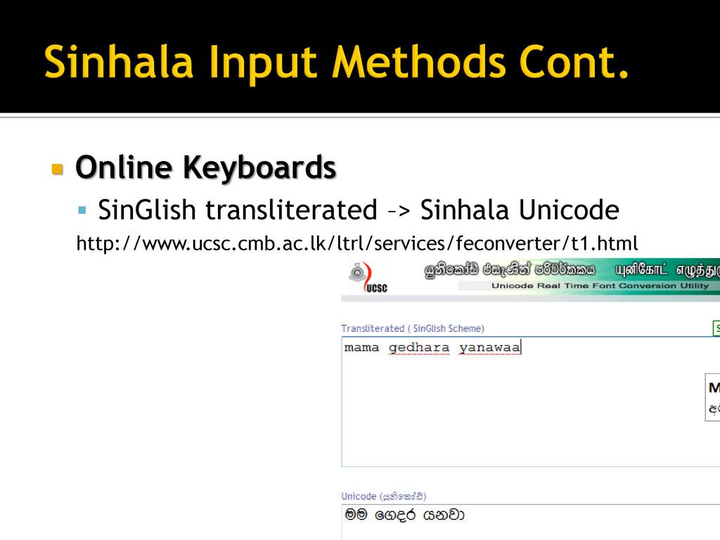  Online Keyboards  SinGlish transliterated –>...