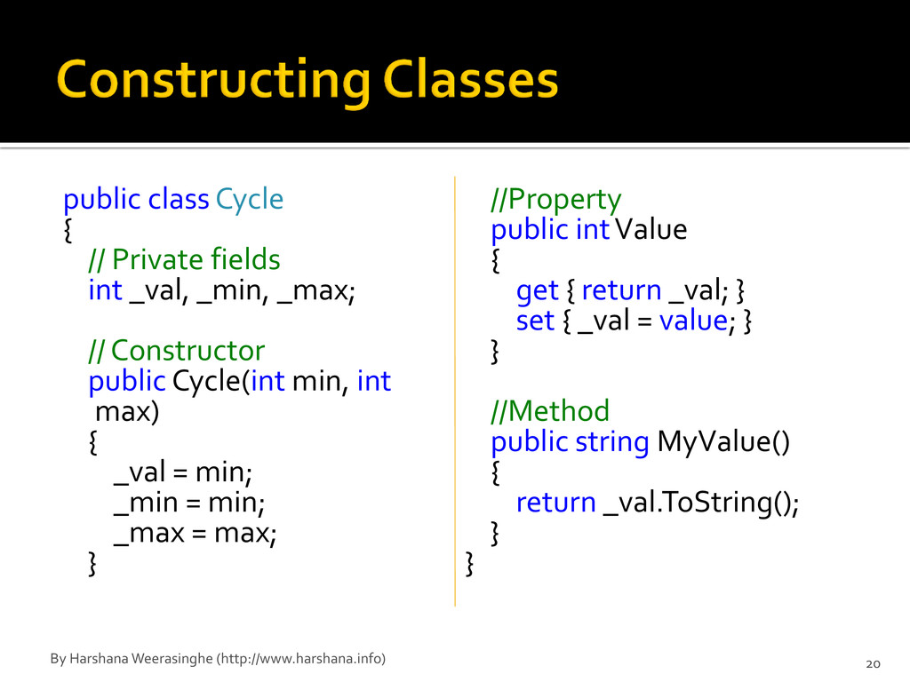 public class Cycle { // Private fields int _val...