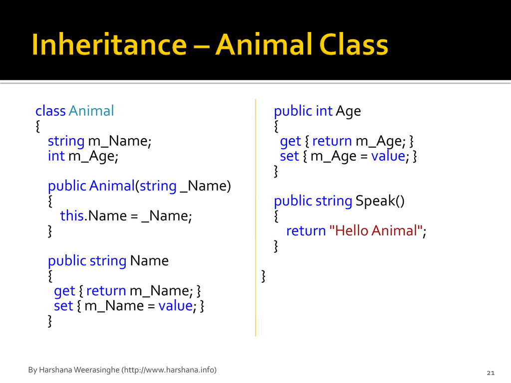 class Animal { string m_Name; int m_Age; public...