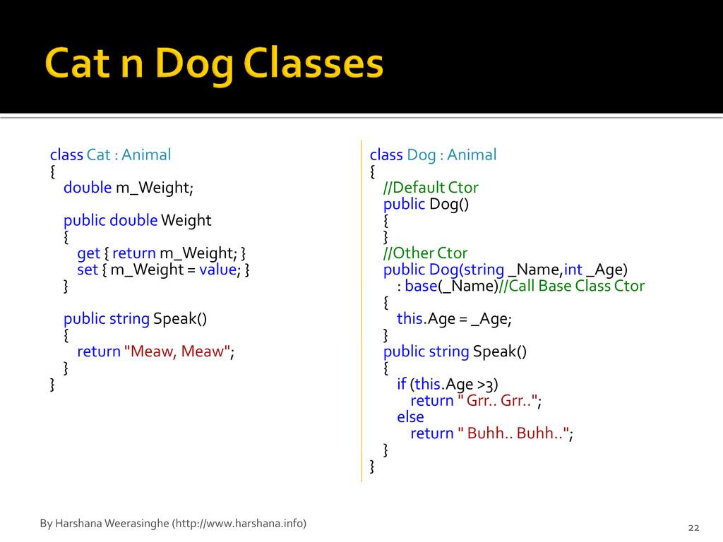 class Cat : Animal { double m_Weight; public do...