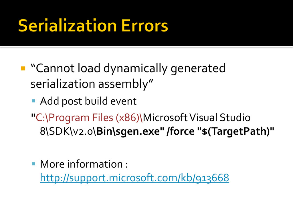 """ """"Cannot load dynamically generated serializat..."""