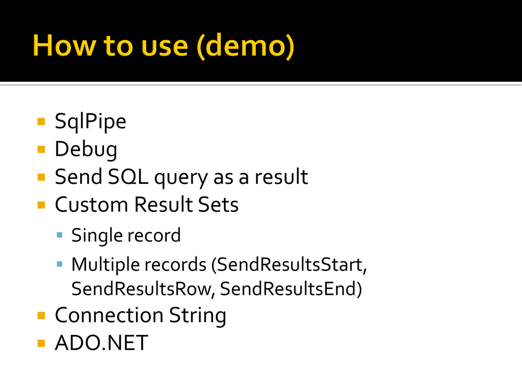  SqlPipe  Debug  Send SQL query as a result ...